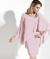 2013 Free Shipping!with jacket crystal round neckline chiffon pink custom-made designer evening dress