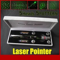 new arrival portable 50mw green laser pointer beam pen with 5 heads 5 patterns for stage party play
