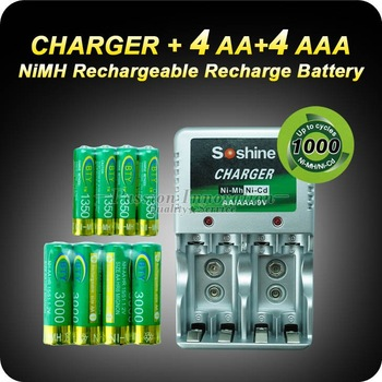 1 Set Rechargeable Battery AA/AAA Batteries 4+4 AA AAA NiMH 1.2v 3000mAh 1350mAh Battery + Charger+Free Shipping