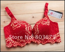 Free Shipping New hot sale Underwire Comfortable Push Up Brassiere Wholesale Retailer Cotton Cheap Red colour Women Sexy Bra(China (Mainland))