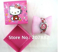 Free Shipping !Fashion Cartoon Wristwatch Hello Kitty Children Watch A0548 On Sale Wholesale & Drop Shipping