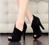 On sale fashion cut outs lady high heeled, Black OL shoes,  free shipping with gift