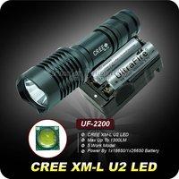 1 Set UF-2200 1300 Lumens CREE XM-L XML u2 LED Flashlight Torch + 2PCS 3000mAh 18650 Rechargeable Battery + AC Battery Charger