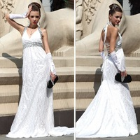Lan kwai fong 2167 white lace big racerback train trailing formal dress formal gowns