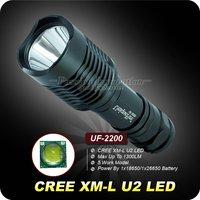 1PC UF-2200 Flashlight 5 Mode 1300 Lumens CREE XM-L XML U2 LED Flashlight 18650 High Power Torch