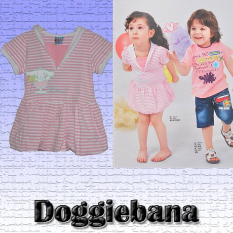 1pc/lot in size 120 Beautiful Doggiebana Children Clothes Pink Mini Dress for little Girls Good Quality For Sample Hot Sale(China (Mainland))