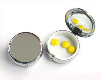 2012NEW HOT  Metal Pill boxes DIY Medicine Organizer container silver-1 compartment  Free Shipping