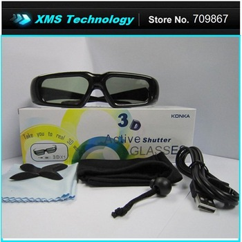 Free Shipping Black Frame Active 3D TV Glasses for 3D Movie Game Theater , 3D Glasses