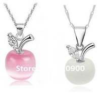 925 sterling silver wholesale extremely through opal apple pendant Pink and white necklace pendant D8579