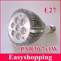 Free shipping 4pcs/lot High Power LED Spotlight  PAR30 E27 LED Spotlight 7*1w AL ,B22/E26Base type to choose