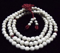BRO968  Buddhist 108 Bleached white Starmoon Bodhi seeds Rosary,9--10mm,wooden Prayer beads mala