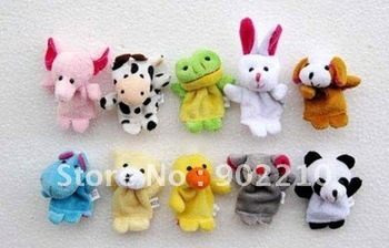 500pcs/lot free shipping Infant Plush animal Finger Puppet toy,baby lovely mini Finger Puppets,baby toy finger doll family