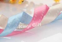 """30 yards- 6/8""""(19mm) small floral printed single face stain ribbons /  beige,pink, light blue color / 10pcs pet lot"""