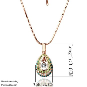 Free Shipping Mixed Order Fashion Jewelry Angel Tears Water Drop CZ Diamond 18K Rose Gold Torques Lariats Pendant Necklace GN022