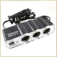 Free shipping 12V In car USB&TRIPLE Car Socket Adapter,Car charger spliter 6pcs/lot