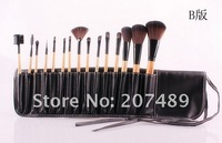 new portable 15 in1 brush sets High Grade pure natural Hair Makeup Kit cosmetic tool professional bag
