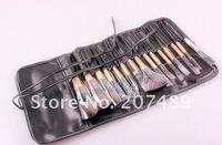 new portable 15 in1 brush sets High Grade pure natural Hair Makeup Kit cosmetic tool professional bag wholesale