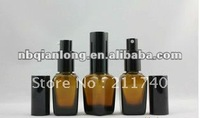 2013 latest 25ml brown/amber cone essential oil bottle equipped Black Aluminum milk spray pump spay