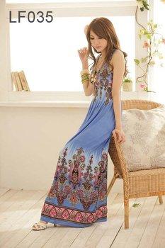 Free shipping 2012 Bohemian Women Fashion Dress, Mixed Long Lady Dress LF035