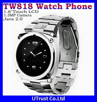 "Free Shipping TW818 Quad-band GSM Wrist Mobile Phone 1.5"" Touch LCD,1.3MP Camera,Support Java,Bluetooth,MP3 MP4"