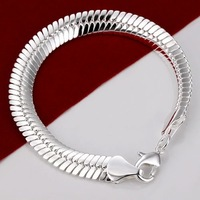 H231 Factory Price 925 Silver  Chain Bracelet ! Fashion Flat Snake Bracelet Jewelry Brand New ! Personalized Jewelry