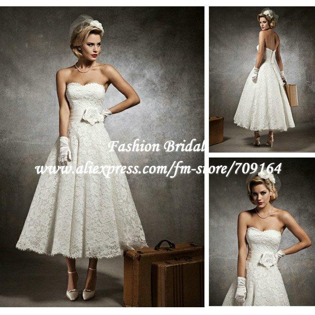 Wholesale Vintage Tea Length Wedding Dress for Resale