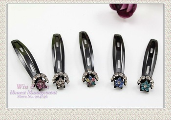 FREE SHIPPING blended color 6.5 cm in length black alloy with crystals pasted cute lady star and moon BB hairgrips H0045