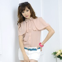 Glamourgirl 2012 ruffle sleeve cape plus size chiffon shirt short-sleeve 60510