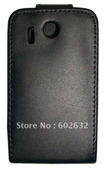 2pcs Free shipping High quality leather case for HTC Explorer Pico A310e (Black)