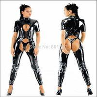 S/M/L/XL/XXL Sexy Metallic Open PVC Catsuit Lingerie Dominatrix Clubwear Stripper Dance Costume
