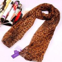 Leopard-print silk-chiffon scarf /shawl/scarves, free shipping,860697