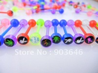 100pcs Free Shipment Acrylic body piercing Body Jewelry-Mix Logos Colorful Tongue Ring Bar