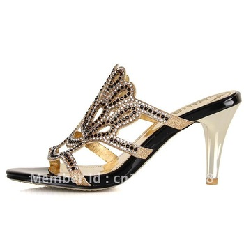 2012 new cool summer melting glass slippers sandals high-heeled shoes women's butterfly