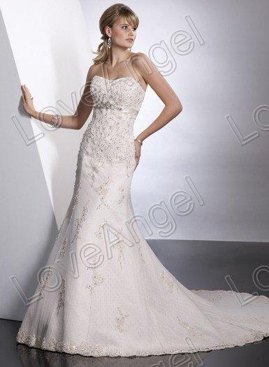 Fashion 2012 Wedding Dresses/Free Shipping Custom Bateau Strapless Applique Discount Designer White A-Line Bridal Gown(China (Mainland))