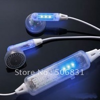 Free shipping LED dazzle colour headphones earphones for mp3 mp4 mp5 Creative Headphones by DHL