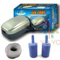 Aquarium Fish Tank Oxygen Air Pump water Hydroponics + 2 Air stone + 2M Silicone Tube Free Shipping