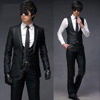 men's formal dress groom suits wedding suit Slim black temperament luxury leisure suits Set (1 suit