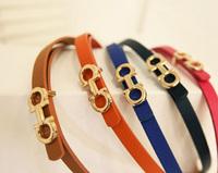 2012 AMIO fashion candy color metal buckle brief strap thin belt black orange electrooptical blue rose