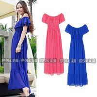 2012 summer ruffle strapless tube top spaghetti strap bohemia chiffon beach full dress one-piece dress women's