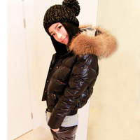 Winter fur collar short design down coat female short design down coat