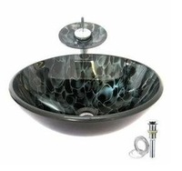 New Free Shipping Black wave Tempered glass Vessel Sink With Waterfall Faucet ,Pop - Up drain and Mounting Ring