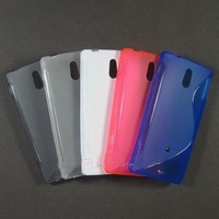 hot sell  free shipping  20pcs/lot  S-line S line Curve Gel Case Cover For Sony Xperia P / Sony LT22i Nypon