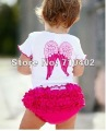Wholesale top quality cute baby clothing set girls` short sleeve with cute pattern + Ruffle shorts baby pants fit for 1-3years