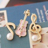 Free shipping brand women earrings/fashion cello and musical note shape earings/Korean style dissymmetrical ear studs