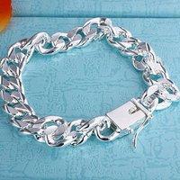 H037 wholesale fashion link bracelets jewelry 10mm wide silver jewelry