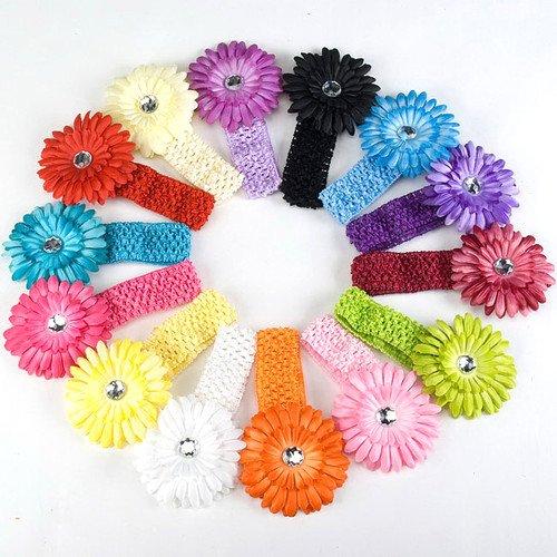 baby girl hair rhinestone daisy flower headband crochet elastic hai band 60pc mix colors(China (Mainland))
