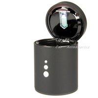 Free shipping/Car ashtray/LED light/high quality Diamond Black Silver Plated ashtray/ABS Flame retardant  material