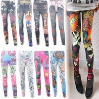 Free shipping high quality  pants faux denim legging personalized print multicolour,hot sale women's shiny galaxy leggings