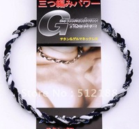 20pcs/lot - 20' White/Dark Blue/Black Twisted Braided Tornado Germanium&Titanium Balance Sports Power Energy Necklace With Box