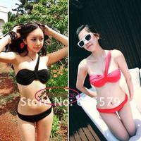 Chic Black Red One Shoulder Bandeaukini Bikini Bathing Suit Swimsuit S-M-L